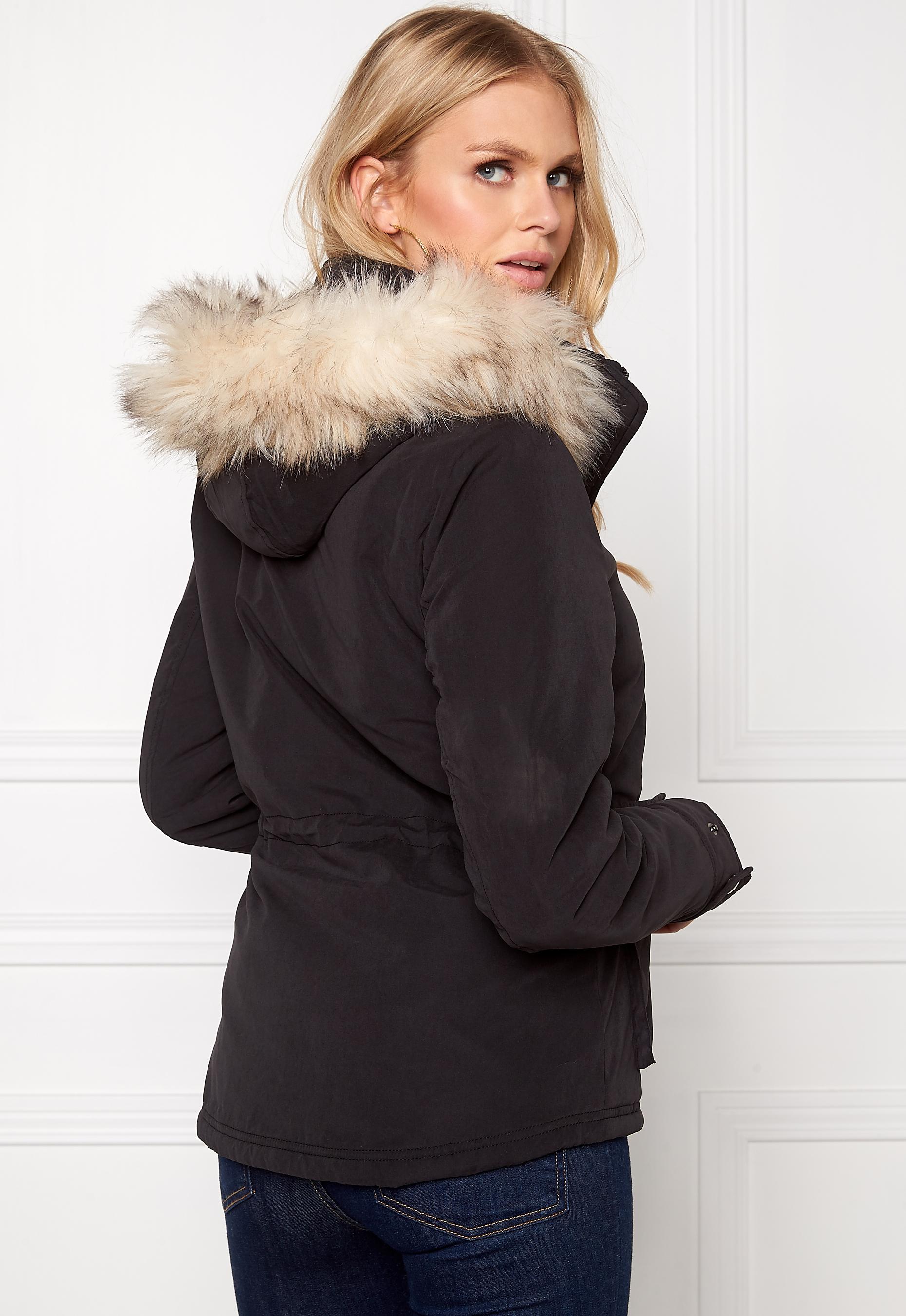 ONLY Starlight Fur Parka Black - Bubbleroom 9911fa6863