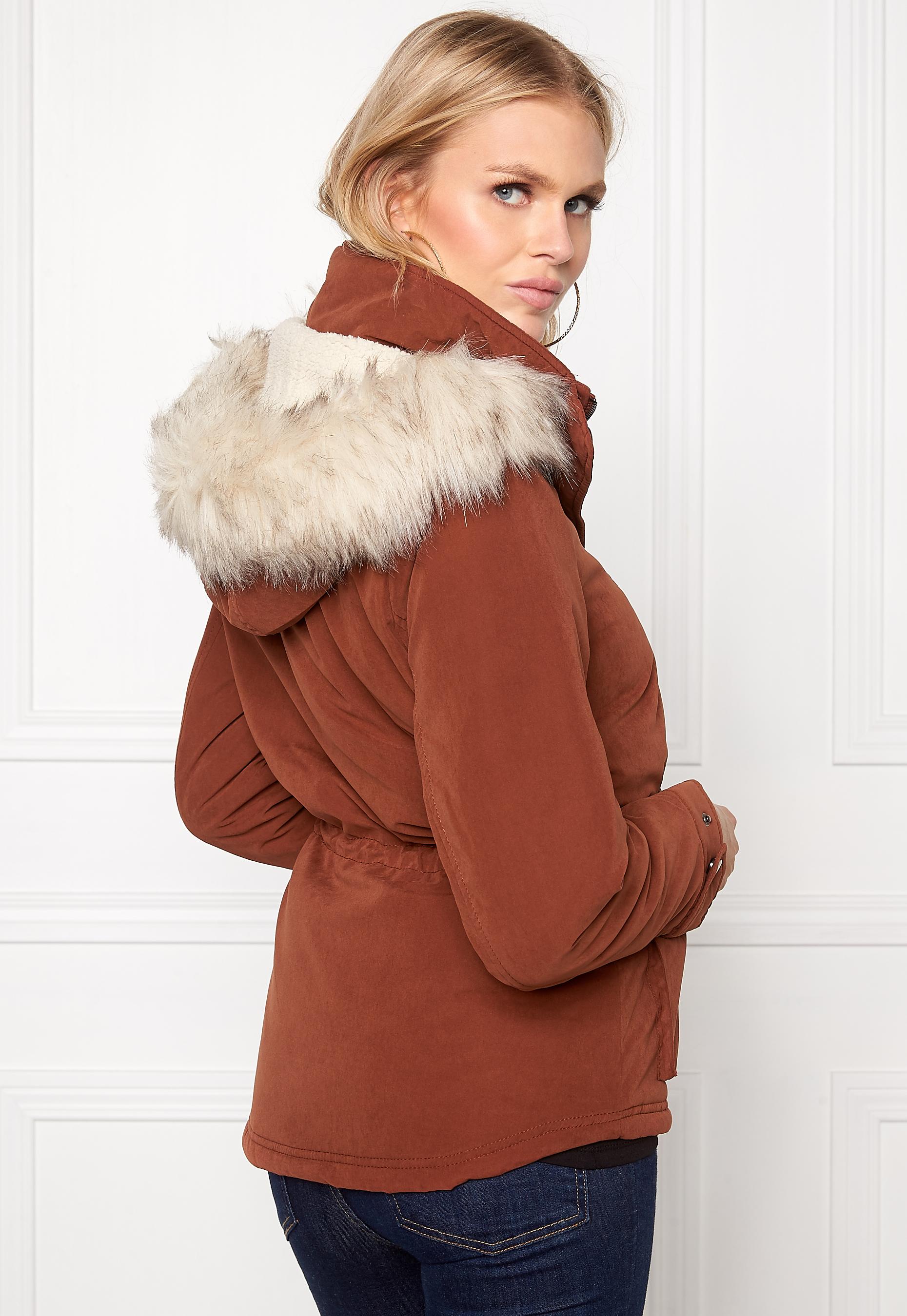 ONLY Starlight Fur Parka Cherry Mahogany - Bubbleroom 4908d36bce