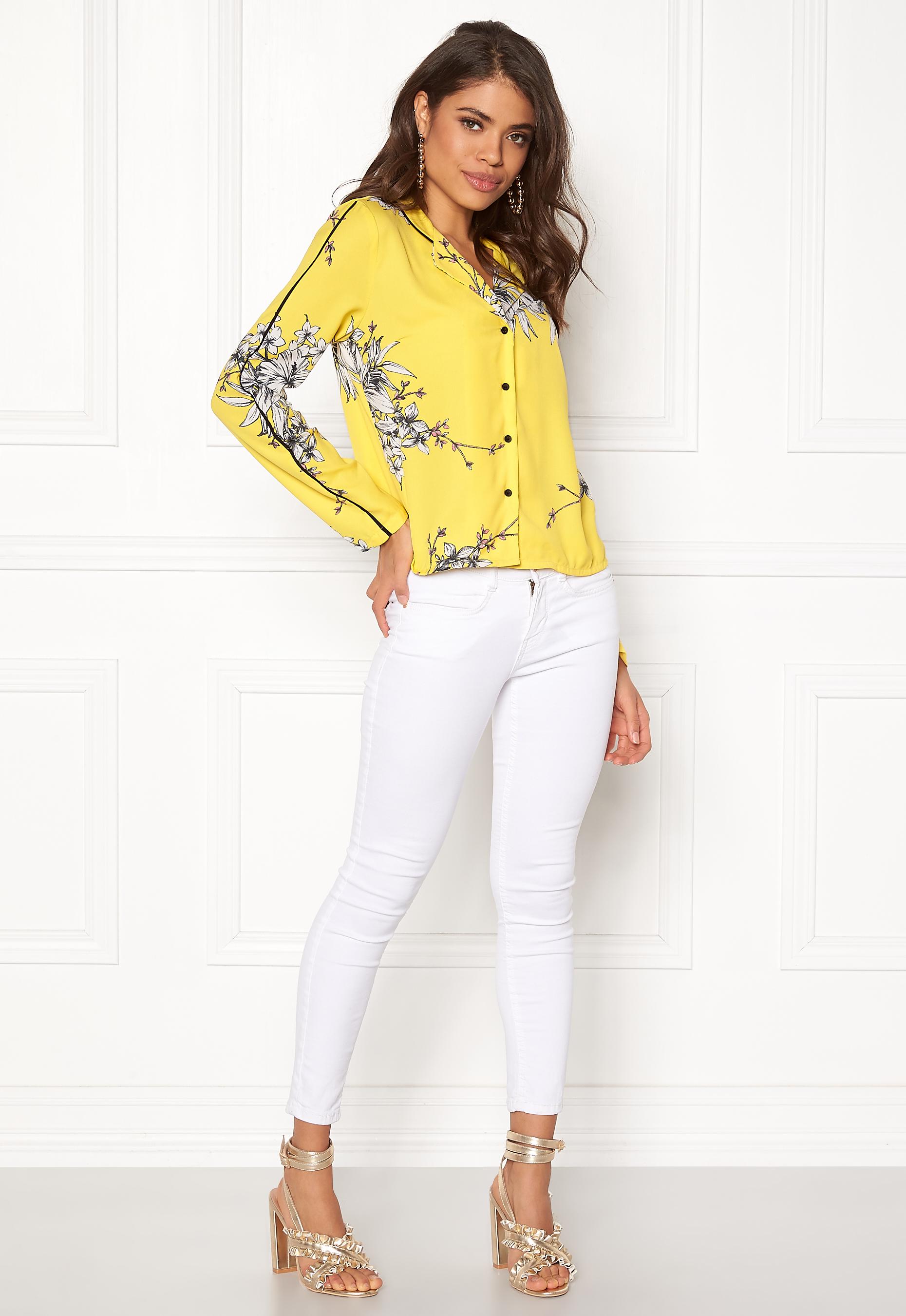 VERO MODA Satina LS Shirt Cream Gold - Bubbleroom 77784e4285