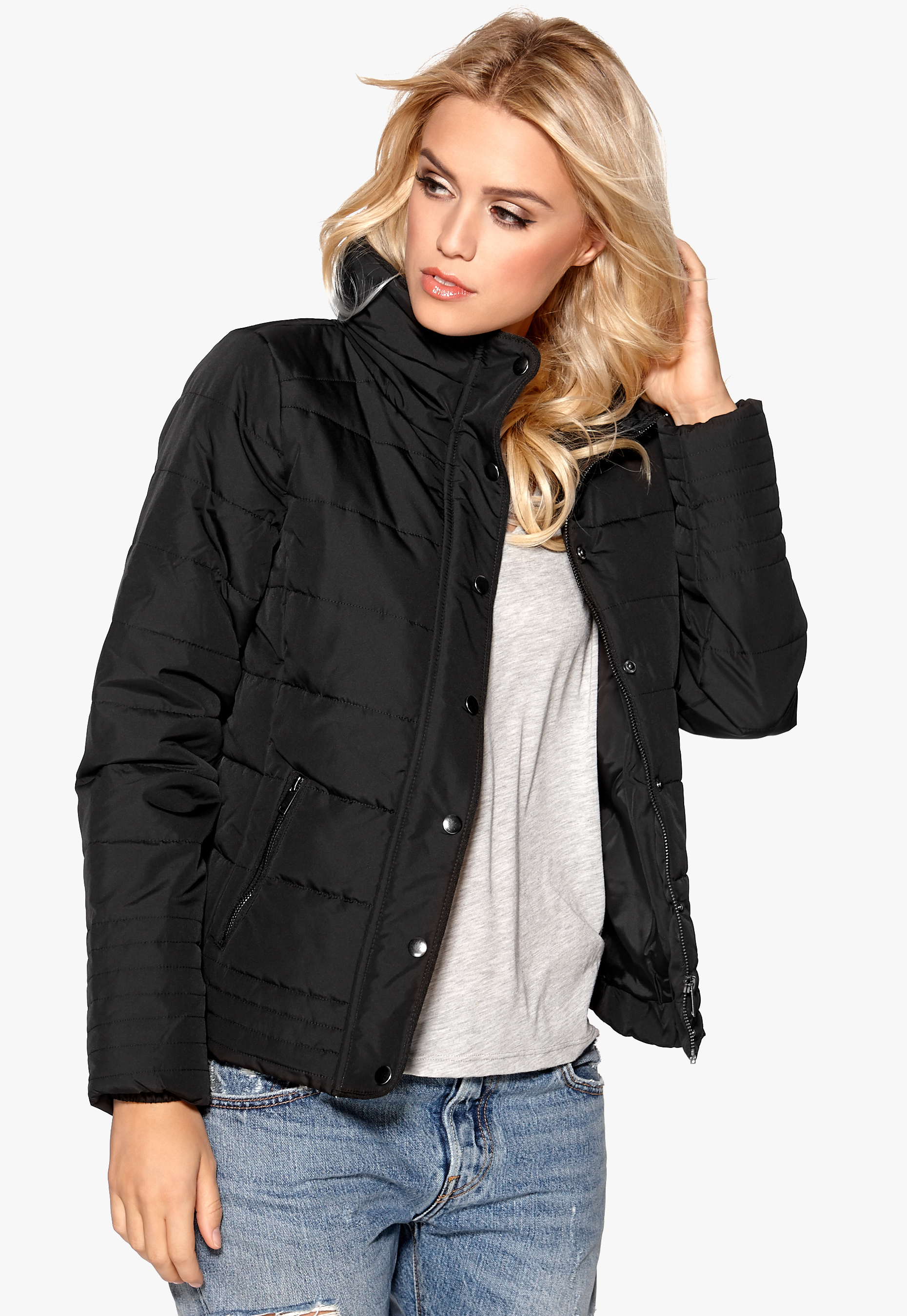 VILA Lonar New Padded Jacket Black - Bubbleroom 389094bb58